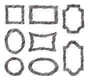 Vector frames do doodle Grupo de esboçar quadros à moda do grunge Ha Foto de Stock