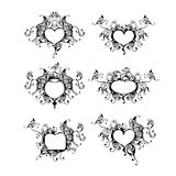 Vector frames. Set of vector frames with hearts and butterflies Royalty Free Stock Images