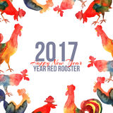 Vector framewith fire cocks in watercolor and text Happy New Year. 2017. Chinese calendar Zodiac for 2017 New Year of rooster. Editable isolated elements Stock Photo