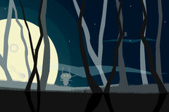 Vector framework from the weaved branches of trees against the night sky in a full moon vector illustration
