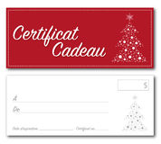 Vector francés de la Navidad del chèque-cadeaux Imágenes de archivo libres de regalías