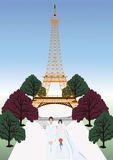 Vector france wedding - Eiffel Tower set Royalty Free Stock Photos