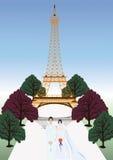 Vector france wedding - Eiffel Tower set. The  france wedding - Eiffel Tower set isolated with white Royalty Free Stock Photos