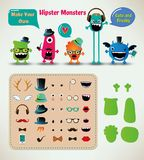 Vector Freaky Hipster Monsters Set Royalty Free Stock Image