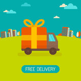 Vector free delivery concept in flat style Royalty Free Stock Photos