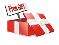Vector free gift present box. White isolated free gift box or free present Stock Photography