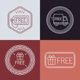 Vector free labels and badges in outline style. Free delivery and gift signs Royalty Free Stock Images
