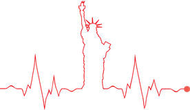 Vector Freedom statue cardiogram. Picture of a Vector Freedom statue cardiogram,  heart pulse or lifeline taking the shape of the American Freedom Statue. Can be Stock Images