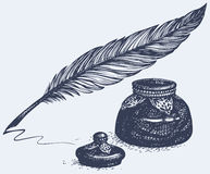 Vector freehand drawing of ancient pen and inkwell Stock Photo