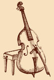 Vector freehand drawing Double Bass with a bow Stock Photo