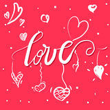 Vector freehand letters. `love` text doodles, valentine`s day Stock Image