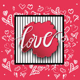 Vector freehand letters. `love` text doodles, valentine`s day vector illustration