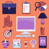 Vector freelance business icons and signs Royalty Free Stock Photo
