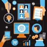Vector freelance work progress. Job inquiry, payment and development icons Stock Photos