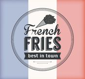 Vector French Fries Badge with Linear Style stock images