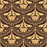 Vector French lace seamless pattern with floral motive Royalty Free Stock Photo