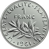 Vector French money coin one franc obverse. Obverse French coin one franc with nominal and image of olive branch with leaves and circular legend Liberty royalty free illustration