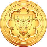 Vector French money ecu gold coin. Vector gold obverse old French coin with the image of the shield bearing a coat of arms - the first ecu, issued by Louis IX of vector illustration