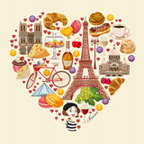 Vector french poster. Sightseeing of Paris and France. Romantic tourist card in vintage style. Stock Photo