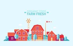 Vector fresco del alimento biológico plano del paisaje de la granja Fotografía de archivo libre de regalías