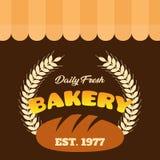 Vector fresco diario del EST 1977 de la panadería Imagenes de archivo