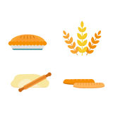 Vector fresh baked bread products icons isolated set meal bakery wheat loaf rye grain snack breakfast baguette cereal Stock Images
