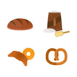 Vector fresh baked bread products icons isolated set meal bakery wheat loaf rye grain snack breakfast baguette cereal Stock Photography