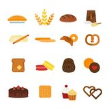Vector fresh baked bread products icons isolated Royalty Free Stock Image