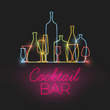 Vector Fresh Cocktail bar neon sign Stock Photo