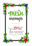 Vector Fresh Discounts percent off banner Royalty Free Stock Photos