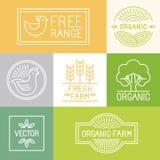 Vector fresh farm and free range labels Stock Photos