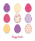 Vector Fresh Field Flowers and Leaves Set of Nine. Colorful Easter eggs card template graphic design Royalty Free Stock Photos