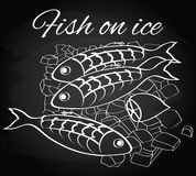 Vector fresh fish and lemon on the ice Stock Photography