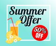 Vector of fresh juice in colorful background. There are word `Summer offer 50% off`, use for web banner, poster or flyer. Picture with copy space for marketing stock illustration