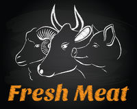 Vector fresh meat animals chalkboard sign emblem Royalty Free Stock Image