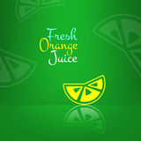 Vector fresh orange juice menu background. Green Royalty Free Stock Photos