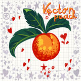 Vector fresh peach with leaves Royalty Free Stock Photography