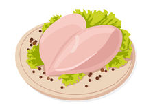 Vector fresh raw chicken breasts. With black peppercorns Royalty Free Stock Photo
