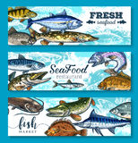 Vector fresh seafood and fish banners set. Fresh seafood or fish banners for fresh sea food market or restaurant. Vector set of salmon, flounder or pike and Stock Photo