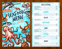 Vector fresh seafood and fish food restaurant menu Royalty Free Stock Photos