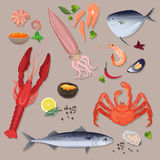 Vector fresh seafood with spices icons collection set. Royalty Free Stock Photos