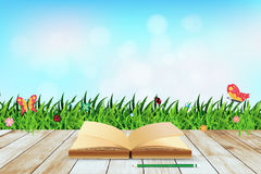 Vector Fresh spring green grass with blue sky boke. Fresh spring green grass with blue sky bokeh and open book and wood floor. Beauty natural background, Vector Royalty Free Stock Photos