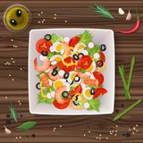 Vector Fresh vegetable and green leaf salad dish on the wooden table. Top view. Royalty Free Stock Images