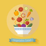 Vector fresh vegetables illustration with flat icons. stock illustration