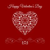 Vector Fretwork Floral Heart Over Red. Happy Valentines Day Holiday Stock Photography