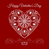 Vector Fretwork Floral Heart Over Red. Happy Valentines Day Holiday Stock Photo
