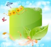 Vector Frühlingsfahne mit Blättern, Gras, Farbbänder Stockfotografie