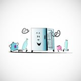 Vector fridge with food on a light background Royalty Free Stock Photo