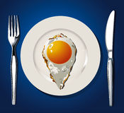 Vector of fried egg markers of places Stock Photography