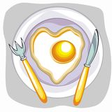 Vector fried egg saucer with spoon and knife Royalty Free Stock Photo
